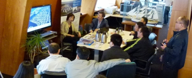 Delegation from China at Waterfronts NL Information Centre in Lelystad, The Netherlands
